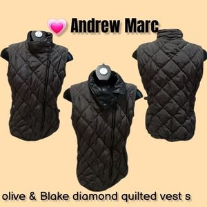 💗 Andrew Marc olive & Blk diamond quilted vest s